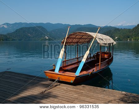 Traditional wooden boats on Bled lake