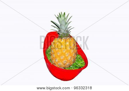 Red Hardhat With Pineapple.