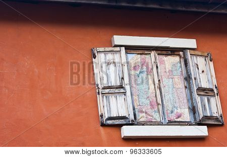 Concrete Wall  With Old Wooden Window