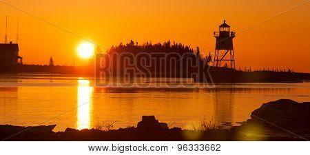 Morning Light Harbor Grand Marais Lighthouse Lake Superior Minnesota Usa