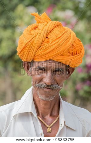 Indian man attended the Pushkar Camel Mela.