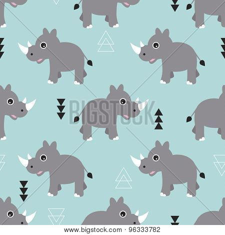 Seamless blue kids geometric triangle and rhino animals illustration background pattern in vector