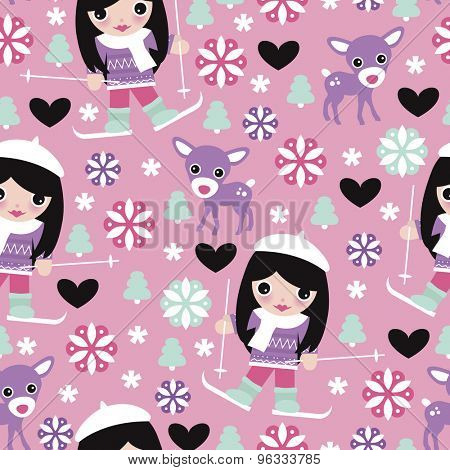 Seamless girls reindeer and ski trip snow flakes christmas theme wrapping paper illustration background pattern in vector
