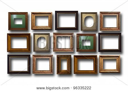 Gilded Wooden Frames For Pictures On Isolated Background