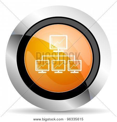 network orange icon lan sign