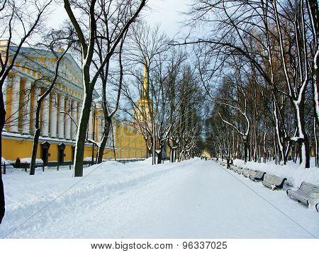 Alexandrovsky garden in winter