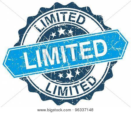 Limited Blue Round Grunge Stamp On White