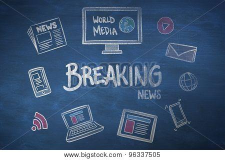 breaking news doodle against blue chalkboard