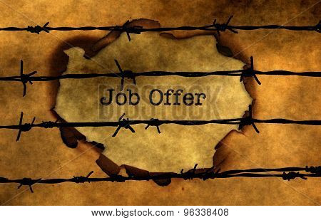 Job Offer Concept Against Barbwire