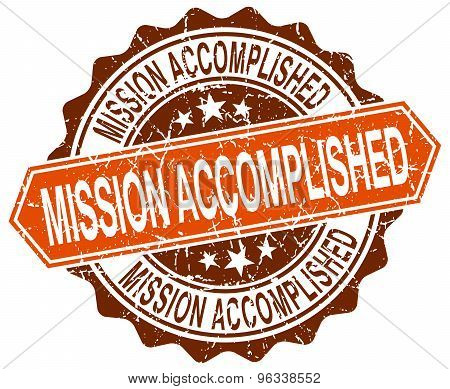 Mission Accomplished Orange Round Grunge Stamp On White