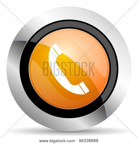 phone orange icon mobile phone sign
