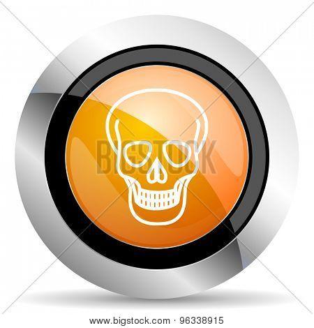 skull orange icon death sign