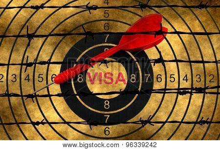 Visa Target Concept Against Barbwire