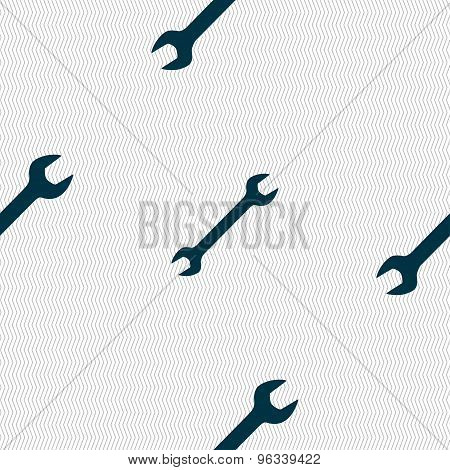 Wrench Icon Sign. Seamless Pattern With Geometric Texture. Vector