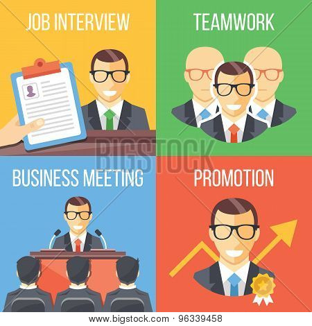 Job interview, teamwork, business meeting, promotion concepts