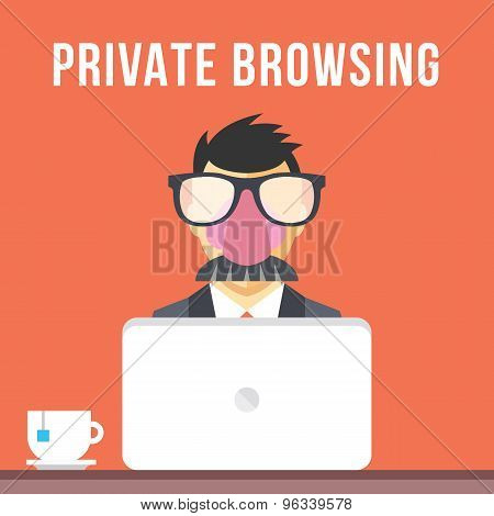 Private browsing flat illustration concept