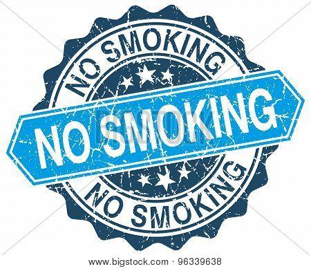 No Smoking Blue Round Grunge Stamp On White