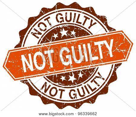 Not Guilty Orange Round Grunge Stamp On White