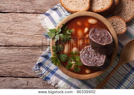 Soup With Black Pudding Fabada Asturiana Horizontal Top View
