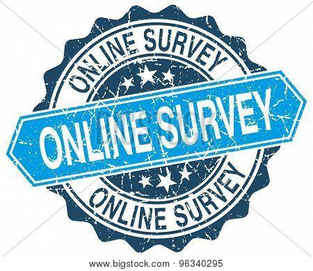 Online Survey Blue Round Grunge Stamp On White