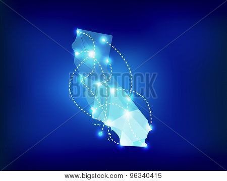 California State Map Polygonal With Spotlights Places