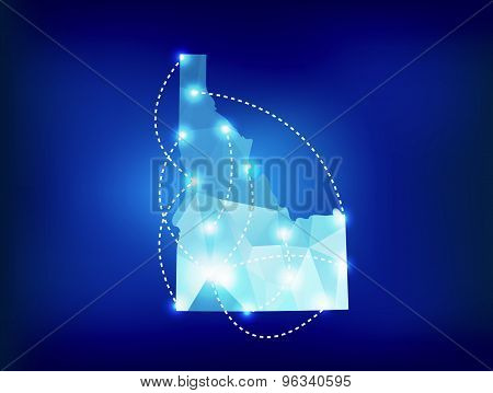 Idaho State Map Polygonal With Spotlights Places