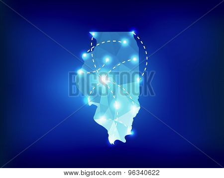 Illinois State Map Polygonal With Spotlights Places