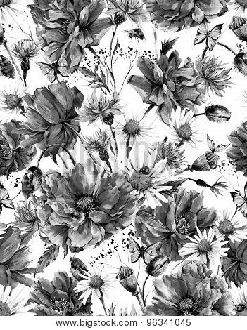 Monochrome Watercolor Vintage Floral Seamless Pattern with Blooming Poppies