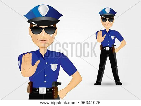policeman cop with sunglasses showing stop gesture