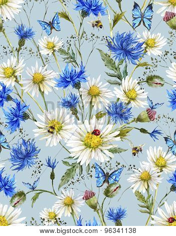 Summer Watercolor Vintage Floral Seamless Pattern with Blooming Chamomile and Daisies