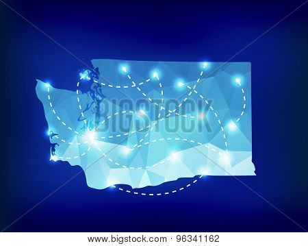 Washington State Map Polygonal With Spotlights Places