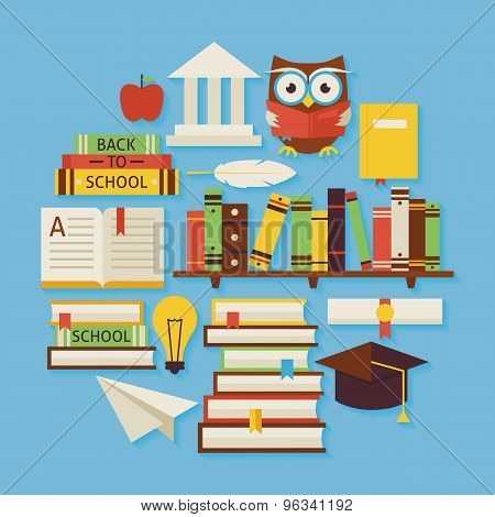 Books Education And Knowledge Vector Flat Design Circle Shaped Objects Set With Shadow