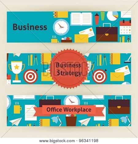 Business Strategy And Office Workplace Vector Template Banners Set In Modern Flat Style
