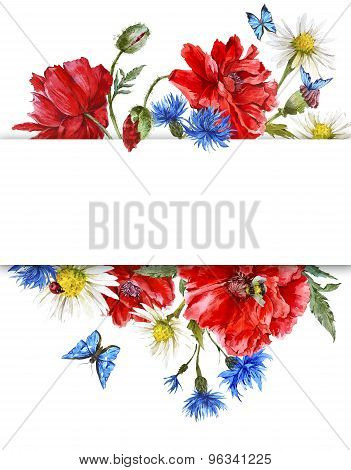 Summer Vintage Watercolor Greeting Card with Blooming Red Poppies