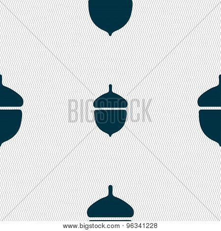 Acorn Icon Sign. Seamless Pattern With Geometric Texture. Vector
