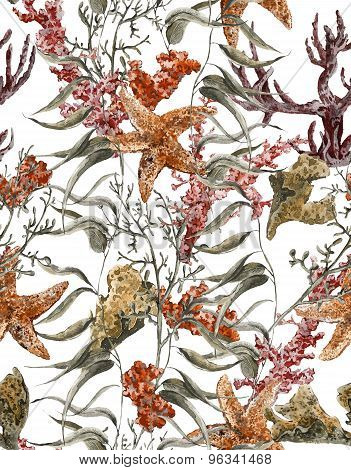 Shabby vintage watercolor sea life seamless pattern with seaweed starfish and coral