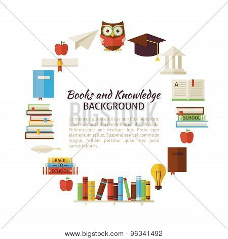 Flat Style Vector Circle Template Of Books Education And Knowledge Objects Over White