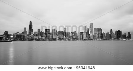 Monochrome Sky Lake Michigan Chicago Illinois City Skyline