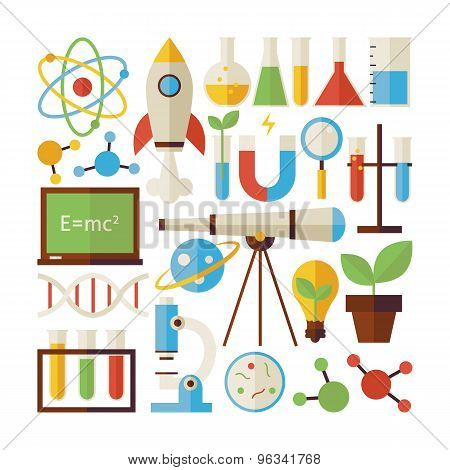 Flat Style Vector Collection Of Science And Education Objects Isolated Over White