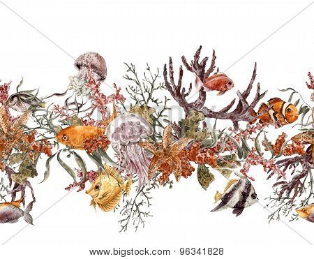 Summer Vintage Watercolor Sea Life Seamless Border with Seaweed Starfish Coral Algae, Jellyfish and