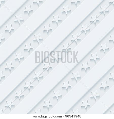 Light gray stars and stripes wallpaper. 3d seamless background. Vector EPS10.