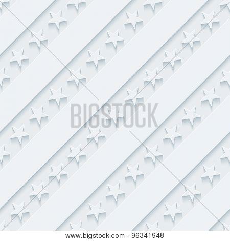 Light gray stars and stripes wallpaper. 3d seamless background. Vector EPS10.