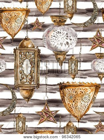 Traditional watercolor seamless pattern on a striped background with arabic lantern, stars and moon