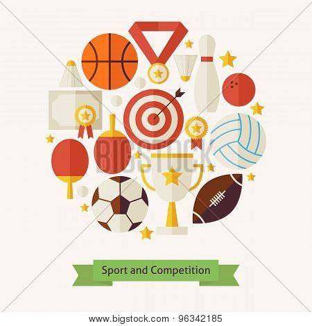 Vector Flat Style Sport Recreation And Competition Objects Concept