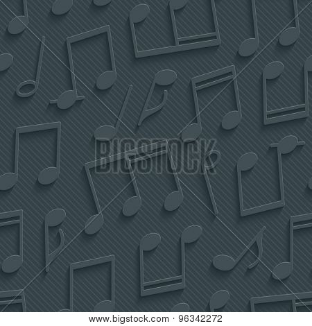 Dark gray musical wallpaper. 3d seamless background. Vector EPS10.