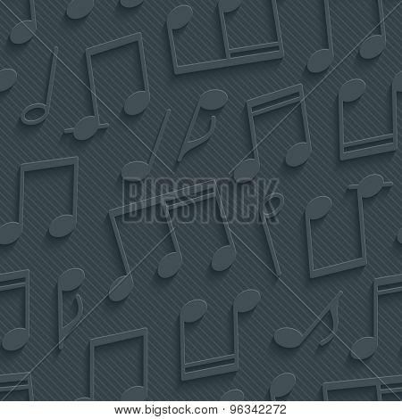 Dark gray musical wallpaper. 3d seamless background. Vector EPS10.
