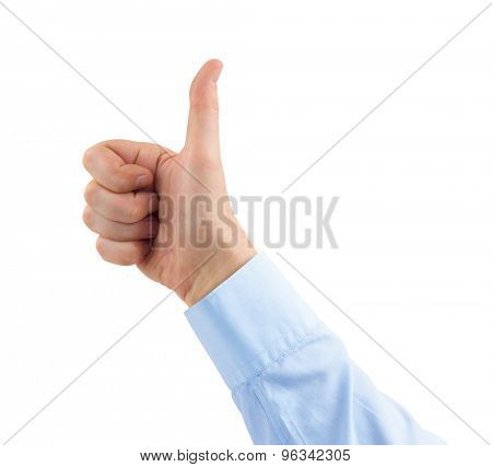 Gesturing thumb hand isolated on white background