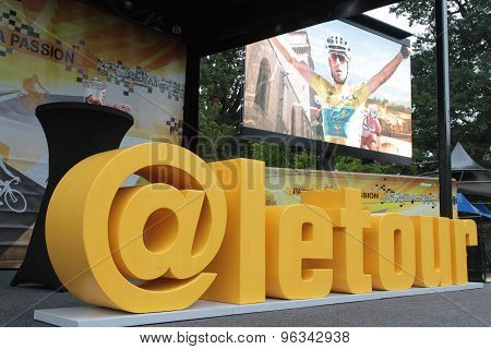 Tour De France Cyclist Race podium