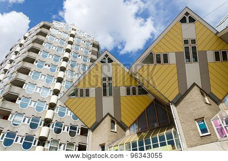 Pencil Tower And Cube Houses In The Center Of The Rotterdam