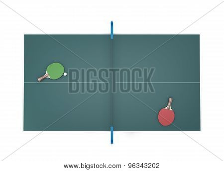 Tennis Table Top View And Two Tennis Racket With Ball On It.